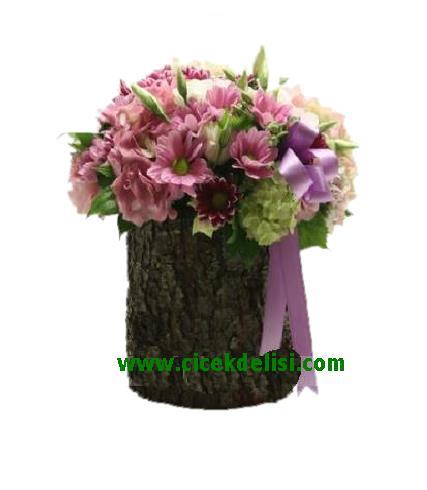 Doðal aðaç içinde mevsim çiçekleri