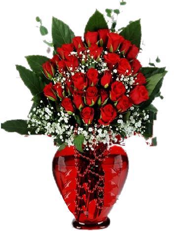 Kalp vazoda 30 adet kırmızı gül