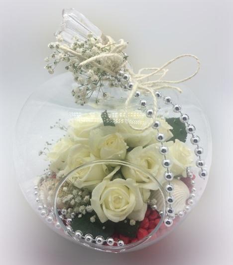 Elma Cam Beyaz Güller